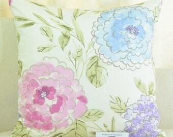 """Fryetts Francesca Carnival Floral Cushion Cover 20"""" x 20"""" Lavendar Pink Blue 100% Cotton"""
