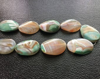 Full Strand Large Green Banded Agate Flat Oval Beads