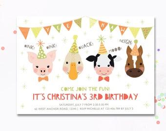 Farm invitation, Farm Birthday Invitation, Farm birthday, children's invite, Horse invite, duck invite, farm animal, farm theme birthday