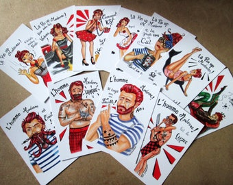 "Set of 12 postcards ""The pinup and modern man"""