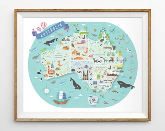 Australia map etsy australia map australian nursery map nursery art aussie map travel theme nursery gumiabroncs Image collections