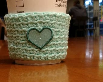 Green Cup Cozy Cup Sleeve with green heart applique, Crochet Coffee Sleeve, Reusable Coffee Cozy, Eco friendly cup cozy
