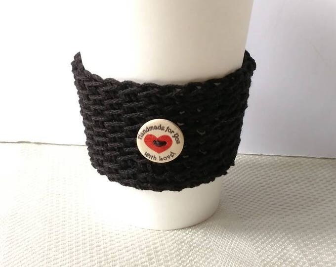 Featured listing image: Black Cup Cozy Cup Sleeve with button, Crochet Coffee Sleeve, Reusable Coffee Cozy, Eco friendly cup cozy handmade with love