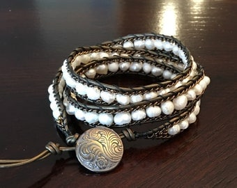 White Pearl and Bronze 3 Wrap Bracelet