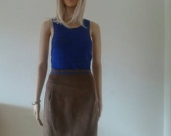 Brown Corduroy Fitted Skirt