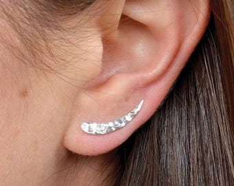 Sterling Silver Hammered Ear Climber ~ Summer Jewelry ~ Minimalist Jewelry - One Pair
