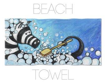 Zebra Beach Towel, Kids Towels, Blue Towel, Summer Towels, Towels For Kids, Illustration Art