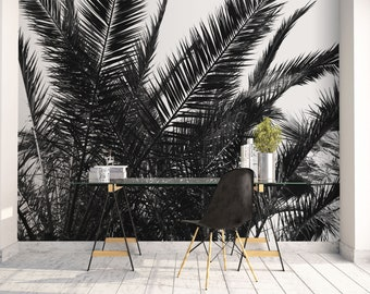 Palm leaves wallpaper mural, Tropical wall art, Beach decor, Peel and stick, Black or gray, Coastal, Nature Mural, Tree, Wall decor. MG057
