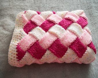 "Entrelac Chunky Blanket 40.5"" x 26"",Raspberry Ripple, Pink & White, Pram, Baby, Pet, Wheelchair, Car Blanket,Cot Blanket,Play Mat,"