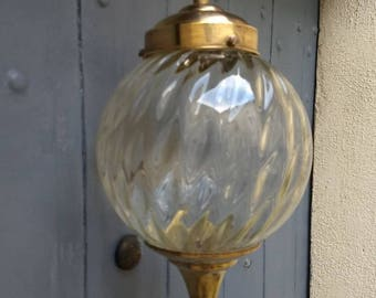 Charming French vintage ceiling light with glass shade and brass trims, circa mid century.