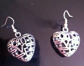 Love hearts dangle earrings