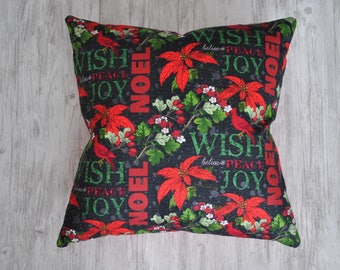 Joy Peace Noel Red Christmas Pillow Cover |  Poinsettia Christmas Pillow Cover | Red Cardinal Pillow