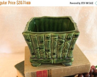 Christmas in July Ungemach Pottery Green Bamboo Planter - UPCO, Vintage, Indoor, Planters, Square, 696