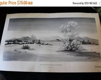 SALE Mid Century Evelyn E. McGinnis Black and White Lithograph - No. 36 Sunlight and Shadows in the Desert, Private Collection