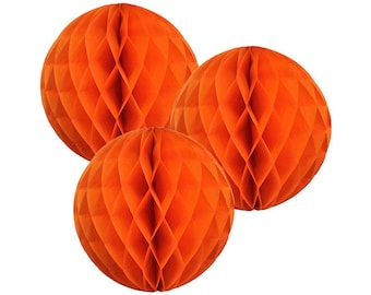 Just Artifacts Tissue Paper Honeycomb Ball (Set of 3, Orange)