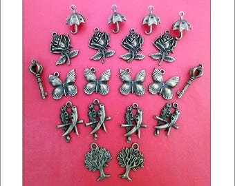Charm Mix 3, antique bronze finish, plated metal, nickel free, jewellery making, mixed charms, UK seller, bag charms, keyrings, charms