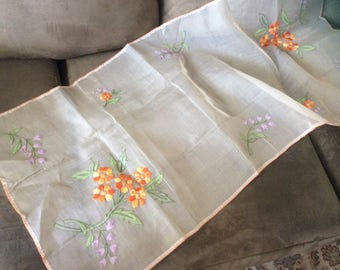 Organdy table runner or dresser scarf with embroideried flowers
