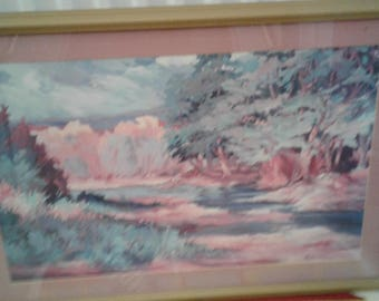 Large Vintage Impressionist Print/Signed/  Old Route 66/ Flagstaff, Arizona Motel Find
