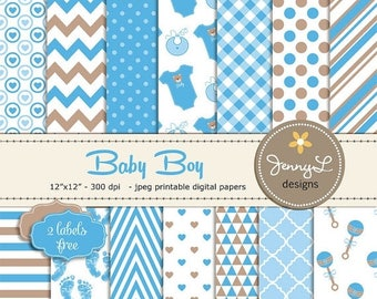 50% OFF Baby Shower Digital papers, Baby Boy Baptism, Birth Announcement, Baby Rattle, Baby Bottle, Digital Scrapbooking Papers, Invitations