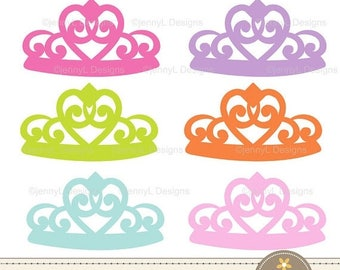50% OFF Princess Crown, Tiara Clipart Girl party for Birthday, Baptism, digital Scrapbooking, Invitations