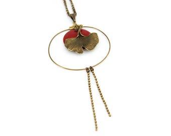 Dark red necklace / long Burgundy / ginkgo leaf necklace / Japanese necklace / bronze necklace / zen necklace