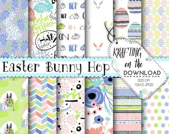 easter paper pack bright easter bunny digital paper cute easter paper pack eater eggs background spring floral paper pack