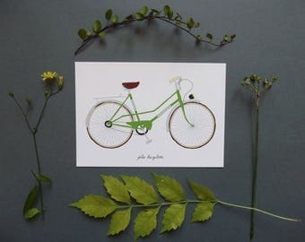 """postcard with """"green"""" vintage bicycle"""