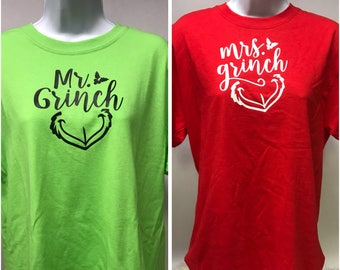 "Couples Christmas ""Grinch"" T-shirts."