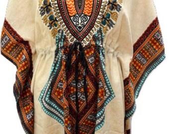 Plus Size Dashiki African Beach Cover Up Batwing Sleeve Drawstring Short Kaftan Turquoise