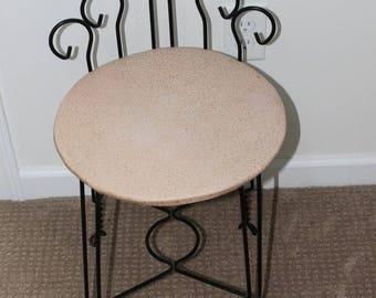 Vintage Pink Vinyl / Black Metal  Vanity Stool / Chair / Seat