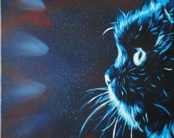 Meow. Stencil spray paint on canvas, 36 x 48 cm.
