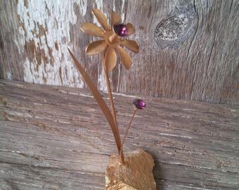 Metal Flower Sculpture, Purple, Amethyst