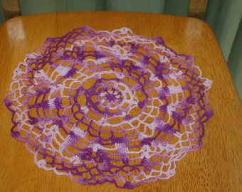 "Hand Crafted DOILY - 11"" Shades of Lavender/Purple Hand Crocheted Doily"