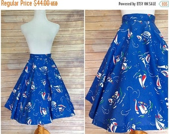 ON SALE SALE | 1950's Skirt | Blue Novelty Skirt/ High Waist Skirt / 50s Cotton Skirt | xxs Novelty Skirt | Vintage novelty Skirt