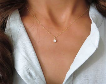 Gold Solitaire Necklace, Gold Necklace, CZ Diamond Necklace, cubic zirconia necklace, bridesmaid gift, Simple Delicate Necklace, everyday