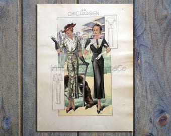 1935 Chic Parisien Hand Colored Print #7093