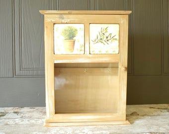 Rustic style, glazed wall cupboard or key cabinet