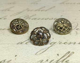 3 Small Open work lacy Antique Metal Buttons 13 mm