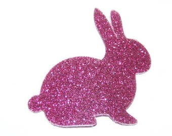 Rabbit head right - fusible applique pink fuchsia glitter