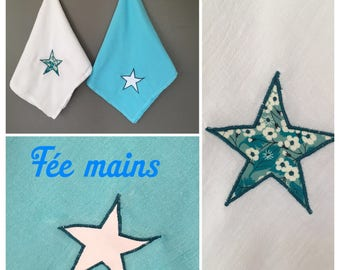 Set of two nappies maxi size white and blue with stars and liberty