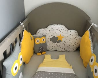 Bumper baby OWL and grey clouds, mustard yellow and white with stars