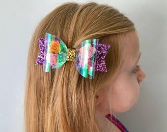Disney Inspired Deluxe Rapunzel Bow, Tangled Bow
