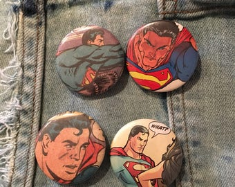 SUPERMAN buttons, 4 pack Batman Pins, vintage comic book buttons, man of stee, Clark Kent