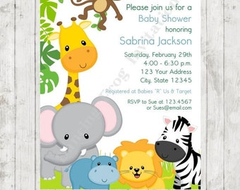 wild animals jungle safari baby shower invitations printed jungle