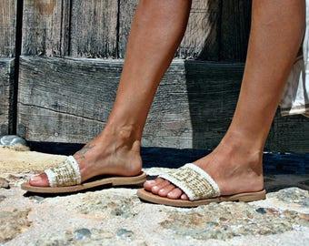 White leather sandal-Meandros- Spetses-Greek sandal-Summer-Elegant shoes