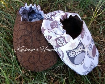 Reversible Baby Shoes Brown Swirls & Brown/Gray Owls, Booties, Soft Sole, Slippers, Crib Shoes