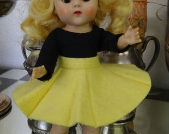 Vogue Ginny Doll Tagged Black Leotard & Yellow Skirt OUTFIT ONLY with Black Ginny Shoes (1425)