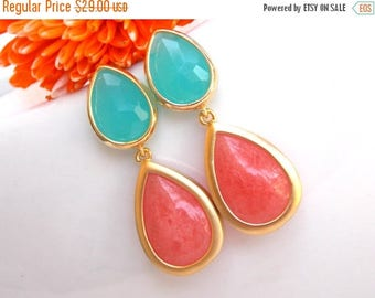 SALE Wedding Earrings, Coral and Mint Earrings,Pink and Mint,Bridesmaids Gifts,Peach and Mint Earrings,Wedding Gifts,Gold Post,Dayed Jade Co