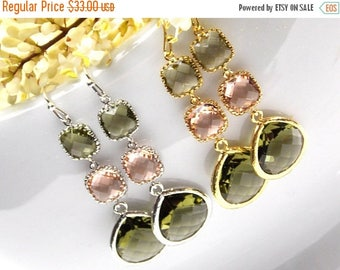 SALE Wedding Jewelry,Gold,Silver,Olive Green and Peach Earrings,Olivine Blush,Bridesmaid Jewelry,Olive Campagne,Bridal Gifts,Dangle,Long,G