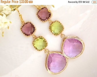SALE Wedding Jewelry, Plum Apple Green and Lavender Earrings, Gold, Bridesmaid Jewelry, Bridal Earrings, Dangle, Long, Bridesmaids Gifts, Gi